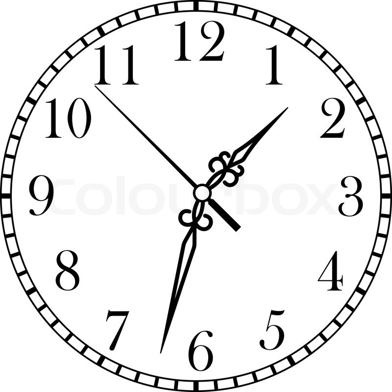 Line Drawing Clock : Dainty line drawing of a round dial clock face with arabic
