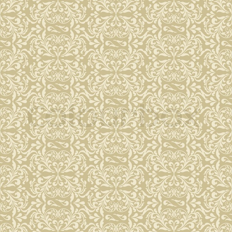 Elegant Cream Hallway With Damask Wallpaper: Damask Beautiful Background With Rich, Old Style, Luxury