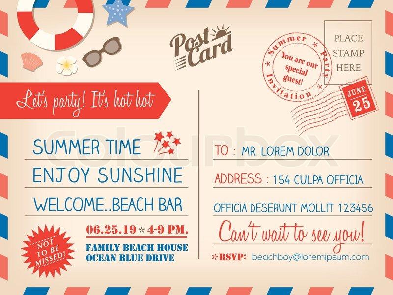 Vintage Sommer Urlaub Postkarte Hintergrund Vorlage für ...