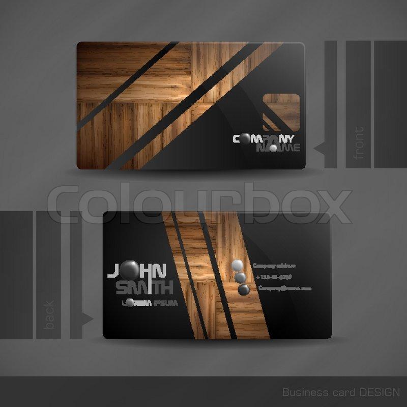 Visitenkarten Design Mit Holz Textur Stock Vektor Colourbox