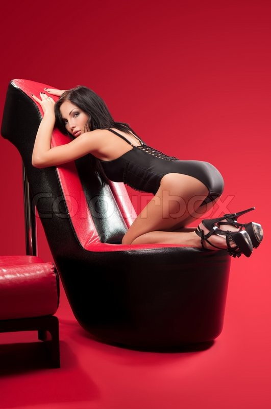 Enjoyable Slim Woman In Black Lingerie Lying On Stock Image Uwap Interior Chair Design Uwaporg