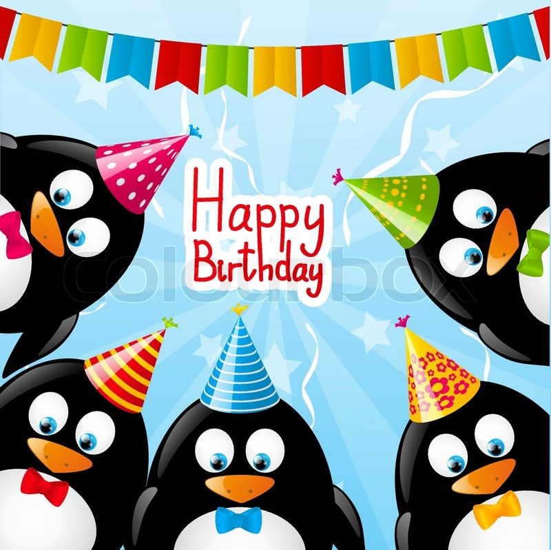 Birthday Card With Funny Penguins Stock Vector Colourbox