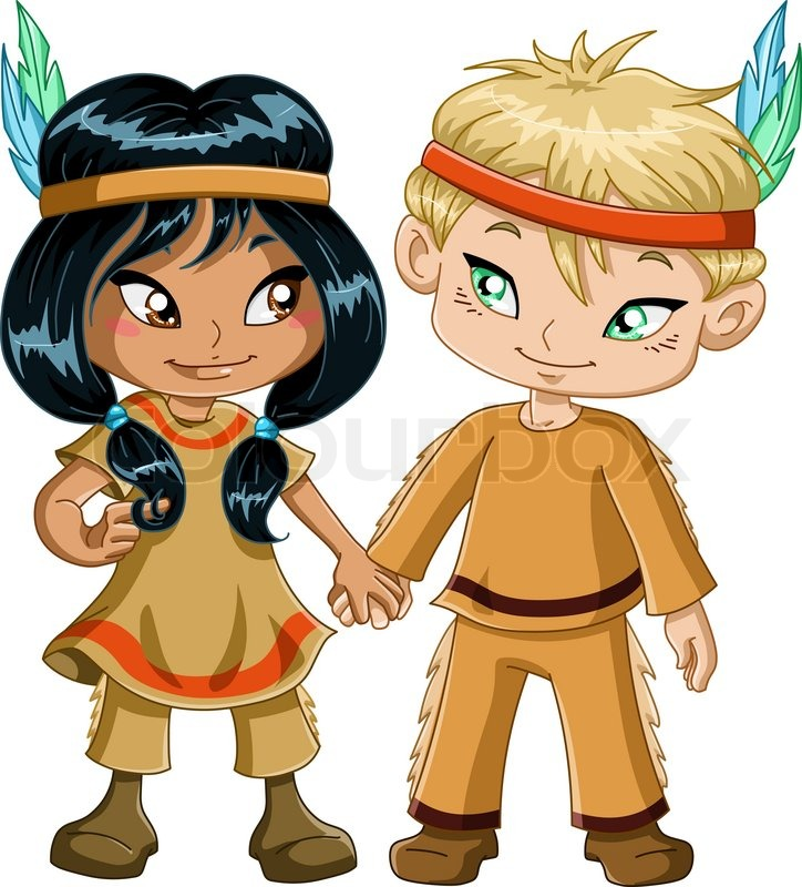 A Vector Illustration Of Children Dressed As Indians And Holding Hands For Thanksgiving Or Halloween