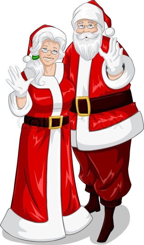 A Vector Illustration Of Santa And Mrs Claus Standing