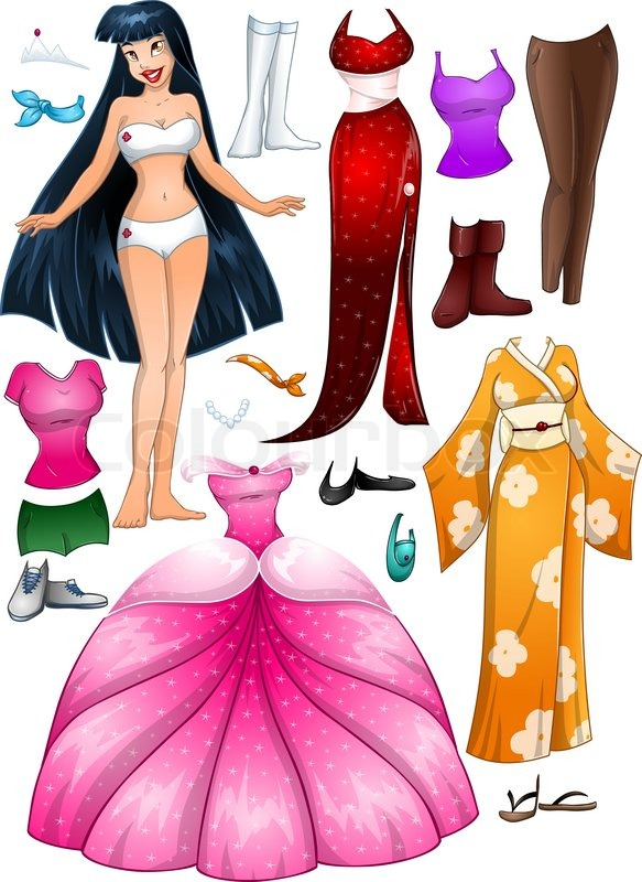 a vector illustration of an asian girl template outfit and