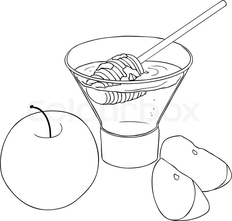 Vector illustration coloring page of honey and apple for Rosh ...