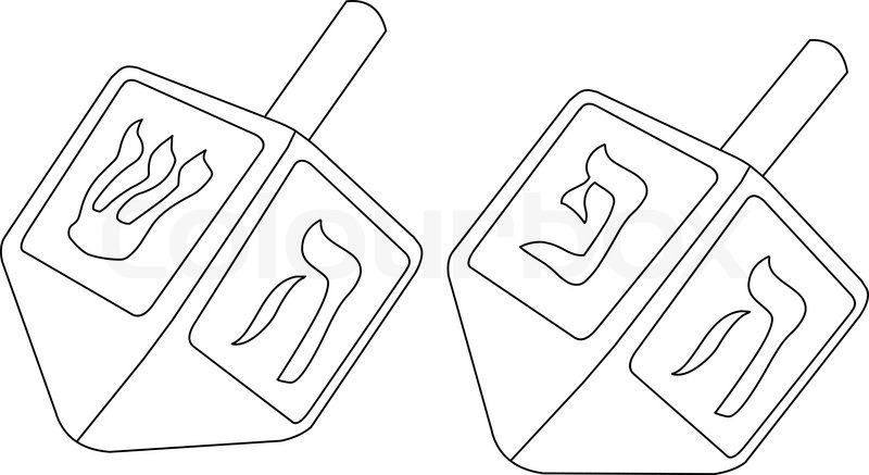 Vector Illustration Coloring Page Of Dreidels For The