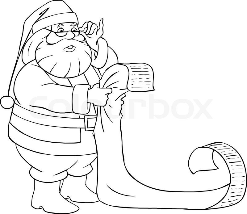 A Vector Illustration Of Santa Claus Holding And Reading From His Christmas List Good Bad Children
