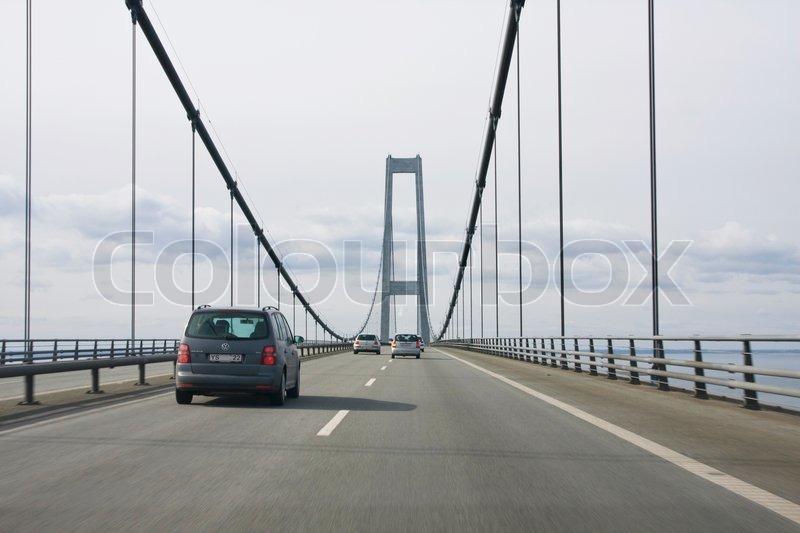 Travelling on Storebælt bridge in Denmark | Stock Photo