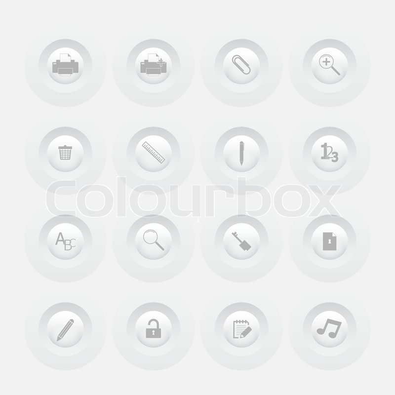 Button office icon set web design menu template stock for Design a button template free