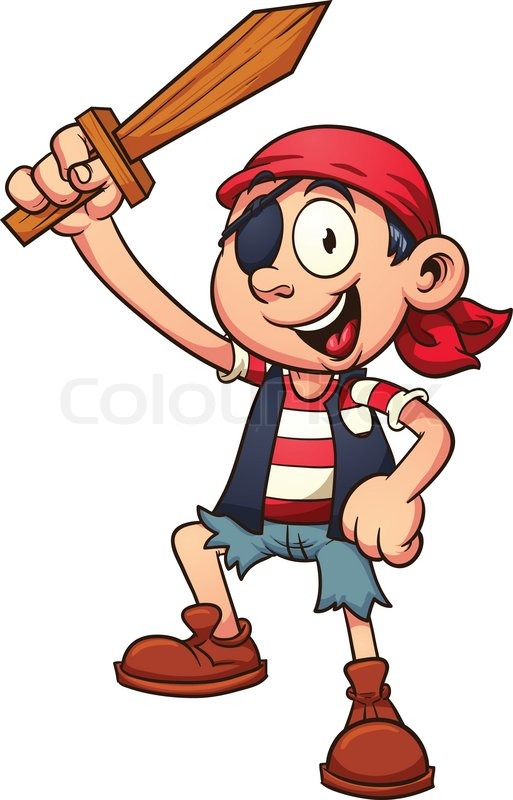 Pirate kid holding a wooden sword. Vector clip art ...