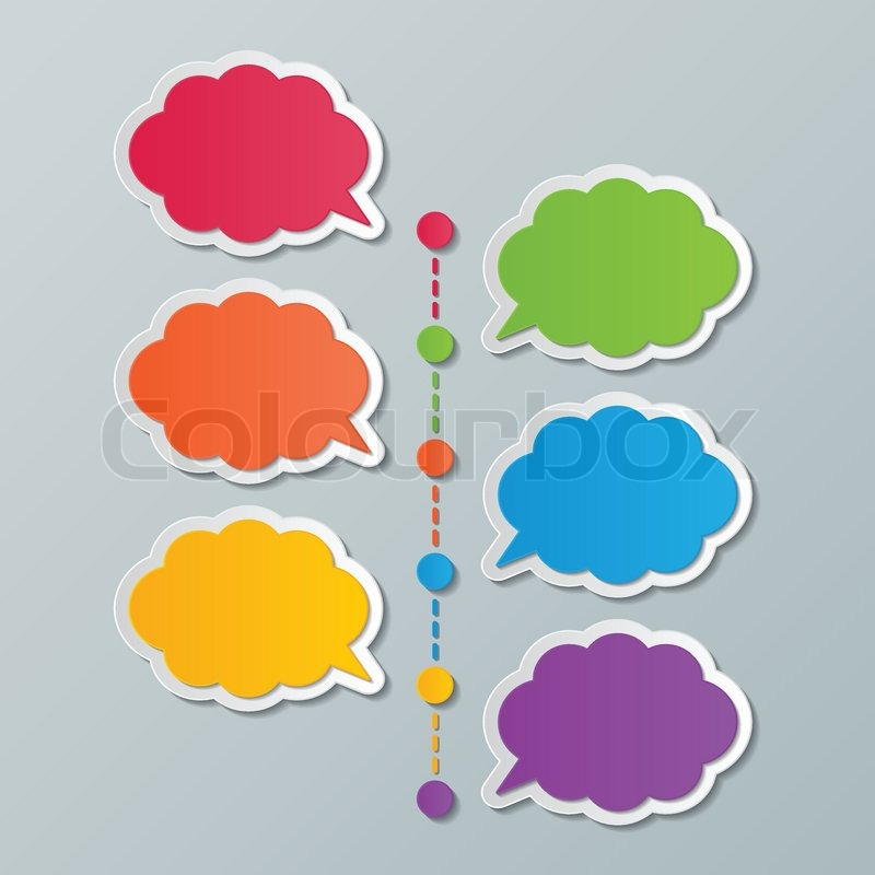 Colorful paper cloud speech bubble timeline infographic design ...