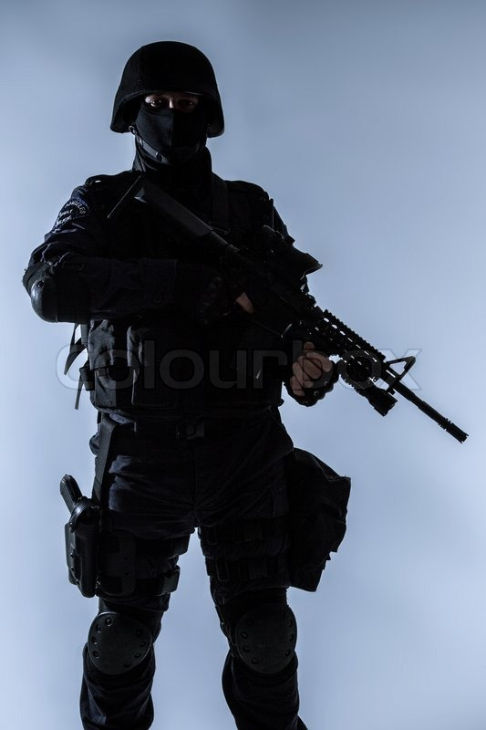 Special weapons and tactics team SWAT officer silhouette | Stock ...