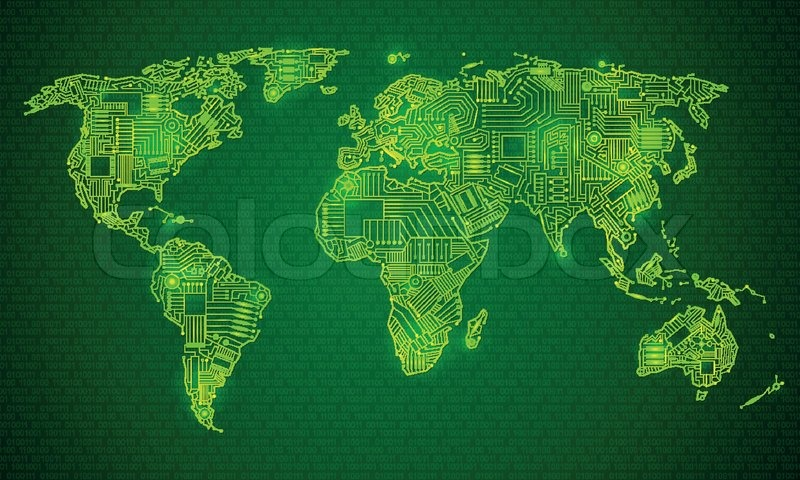 World map technology style digital world with electronic systems world map technology style digital world with electronic systems traveling anywhere in the world using the gadget glowing outline on a green background gumiabroncs Gallery