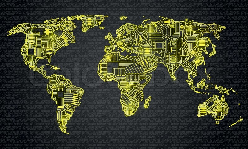World map technology style digital world with electronic systems world map technology style digital world with electronic systems traveling anywhere in the world with application gadget gold outline on a black gumiabroncs Gallery