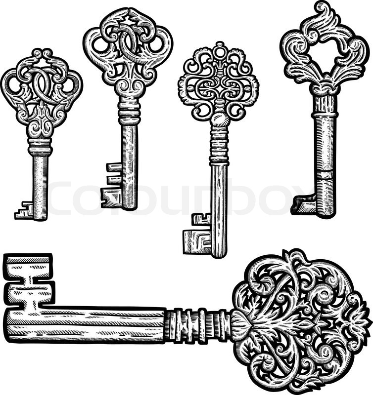Vector Key Illustration: Set Of Vintage Old Key. Engraving Retro Illustration