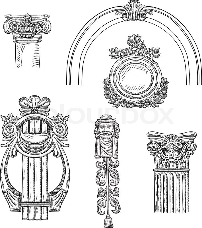heraldic vintage decorative element isolated object on white background retro engraving frame. Black Bedroom Furniture Sets. Home Design Ideas