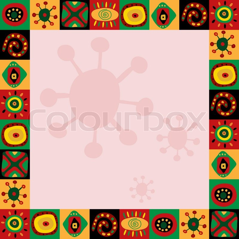Frame with a abstract pattern in African style | Stock Photo | Colourbox