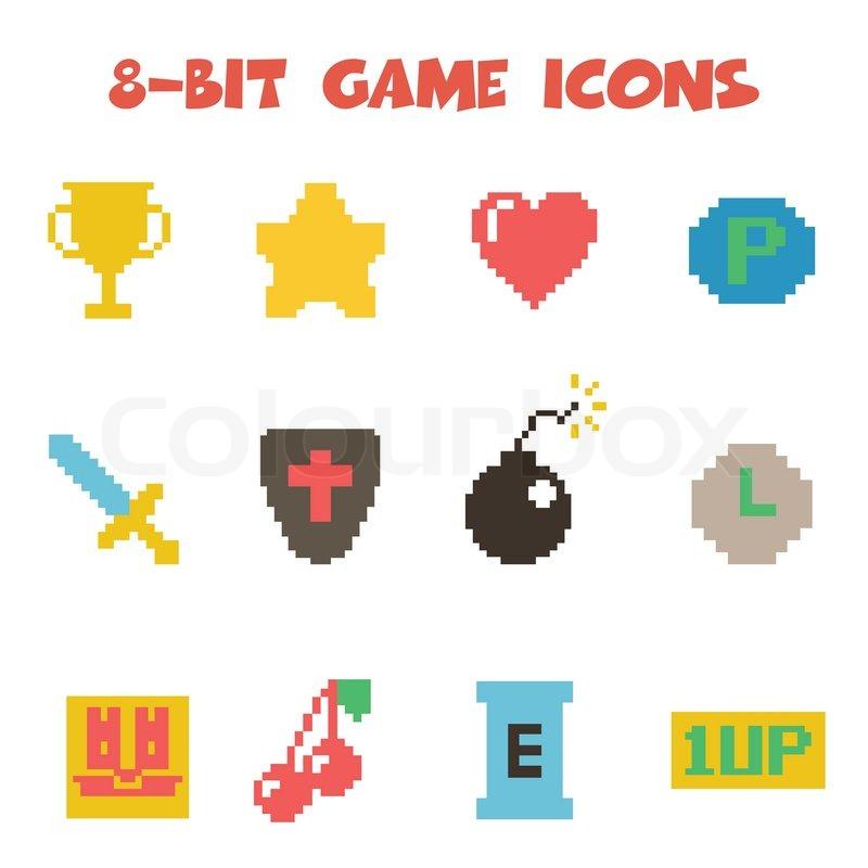 8 Bit Item Icons Flat Vector Symbols Stock Vector Colourbox