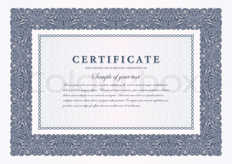 Vintage certificate with horizontal luxury, ornamental frame ...