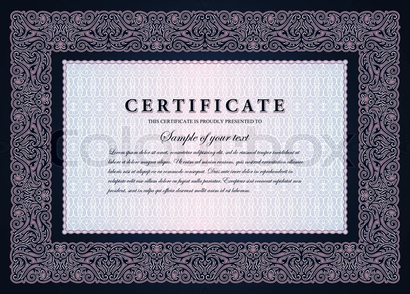 Vintage certificate with horizontal luxury, ornamental frame, coupon ...