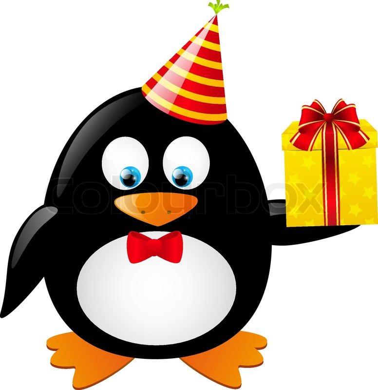 Lustige Pinguin Mit Geschenk Box Vektorgrafik Colourbox