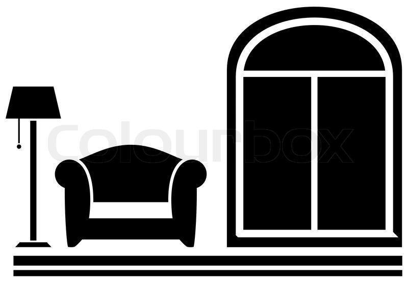 Stehlampe clipart  Interior Icon mit Sessel, Stehlampe und Fenster | Vektorgrafik ...