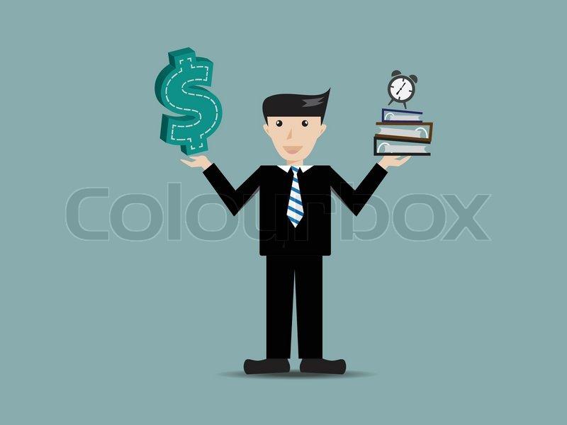 Unternehmer erhalten einen Arbeitsblatt und Dollar-Symbol-Cartoon ...