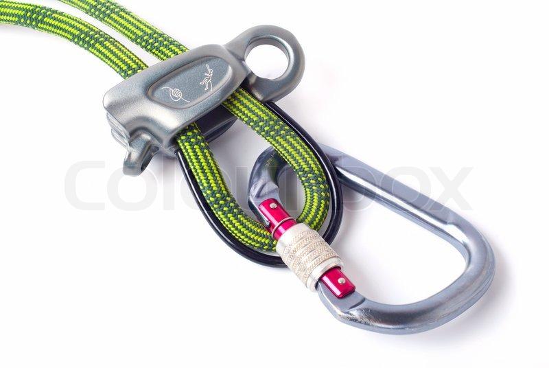 Kletterausrüstung Umlenkrolle : Kletterausrüstung für sicheres klettern sportler stockfoto