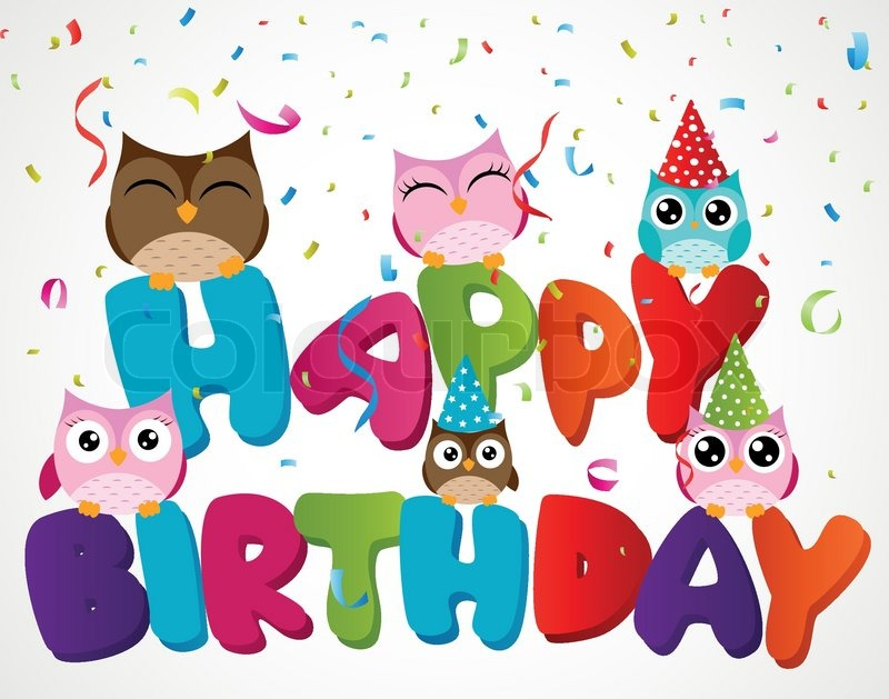 Vector Illusrtation Of Happy Birthday Card With Owl Stock Vector