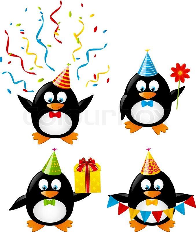 Set Of Funny Birthday Penguins