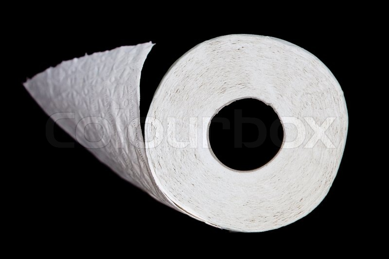 Roll of toilet paper on black background, stock photo
