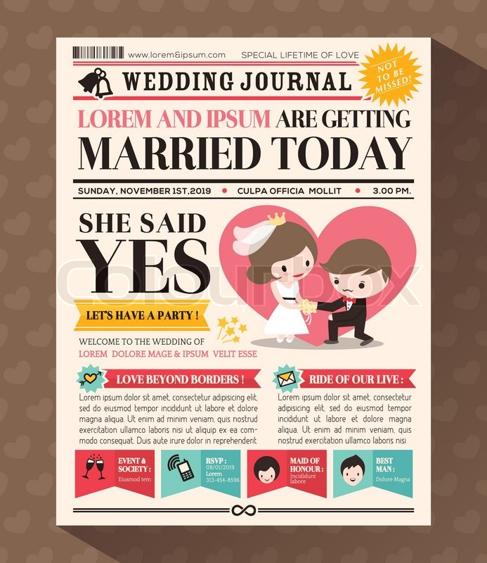 cartoon newspaper journal wedding invitation vector design
