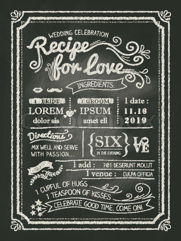 Rezept Fr Liebe Tafel Hochzeit Einladungskarte Stock