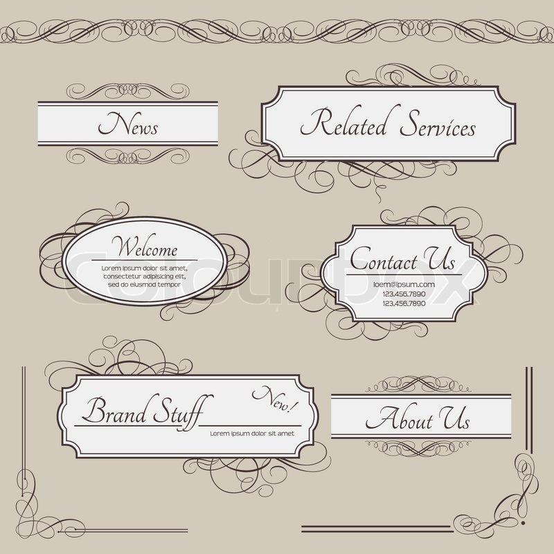 Set of vintage vector labels, frames, borders. Retro elements ...