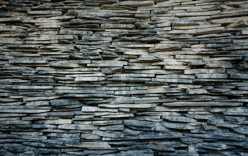 Slate Stone Wall Seamless Background Texture Stock Photo