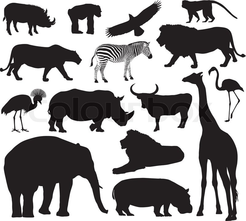 African animals silhouettes set. Vector illustration. EPS ... Flamingo Outline