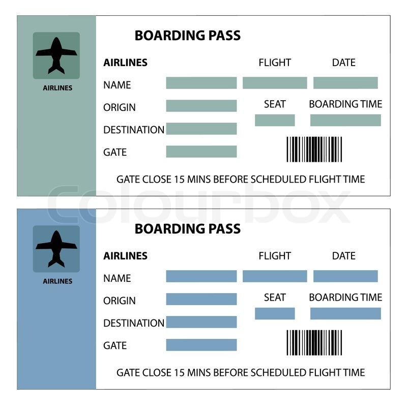 Illustration of two boarding passes on white background ...