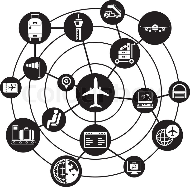 airport network background connecting diagram Network Design Icons airport network background connecting diagram vector