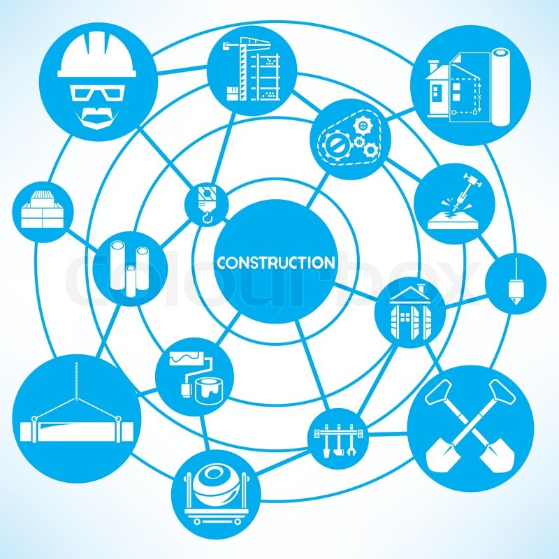 Construction management blue connecting network diagram for Contractors network