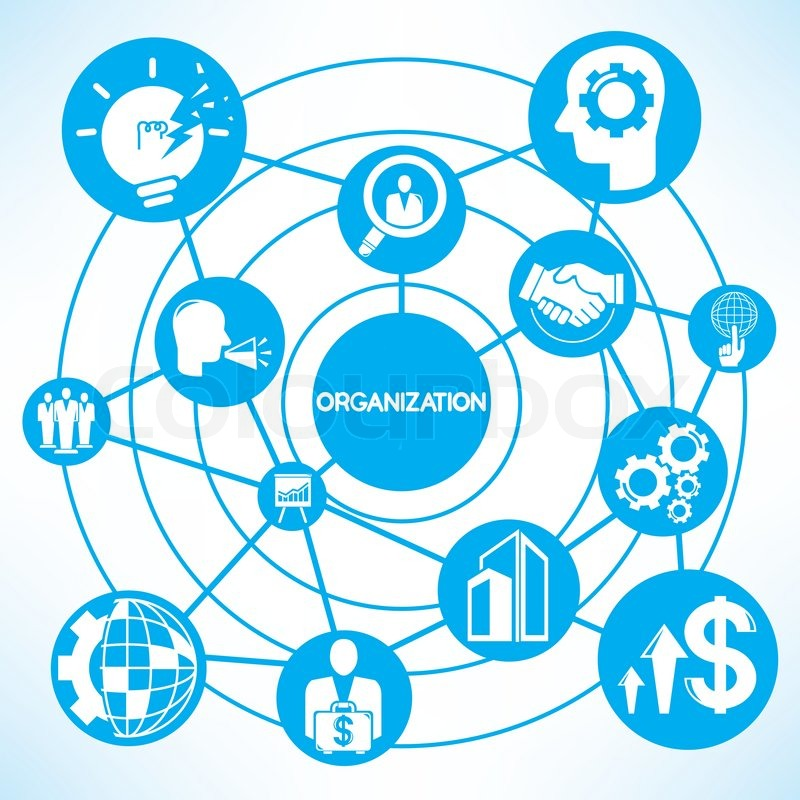 organization management  blue connecting network diagram