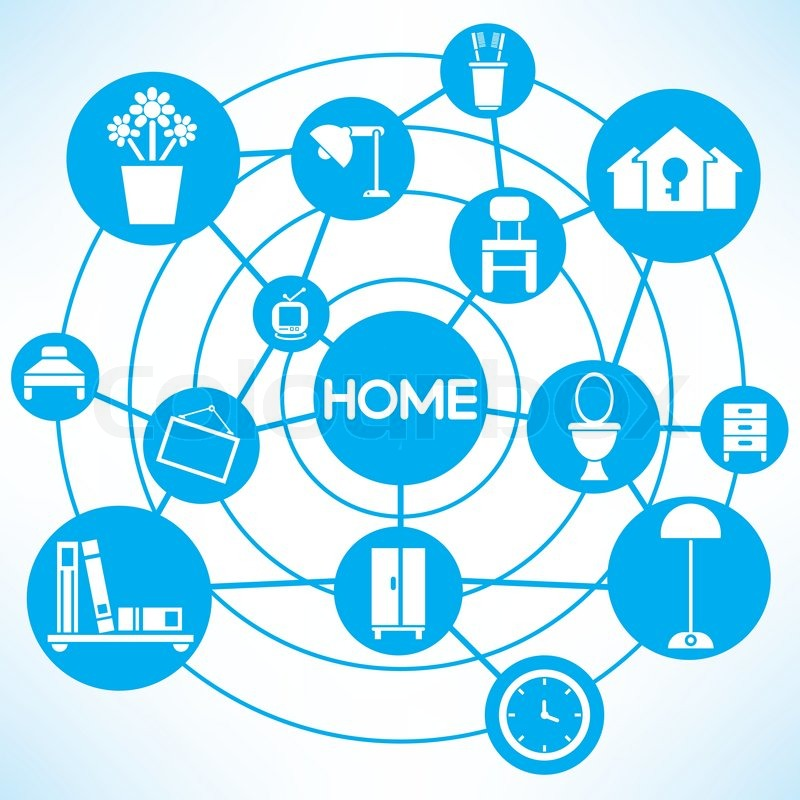 Home And Interior Design Blue Connecting Network Diagram