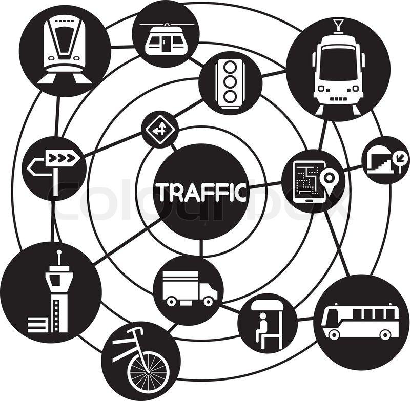 Verkehr und Transport, Netzwerk Anschlußbild   Vektorgrafik   Colourbox