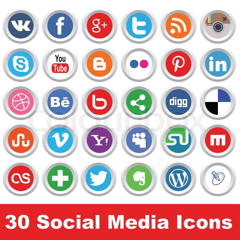 Stock vector of 'Big social icons set isolated on a white'