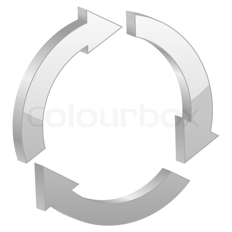 Recycle Symbol Circle Grey Recycle Symbol on a White