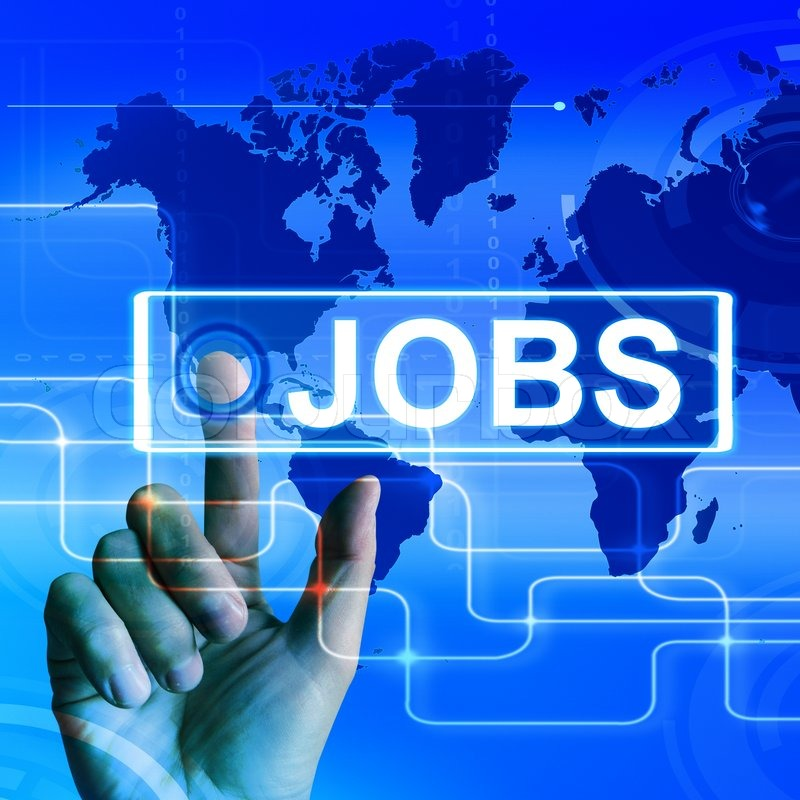 Jobs Map Displaying Worldwide or Internet Career Search, stock photo