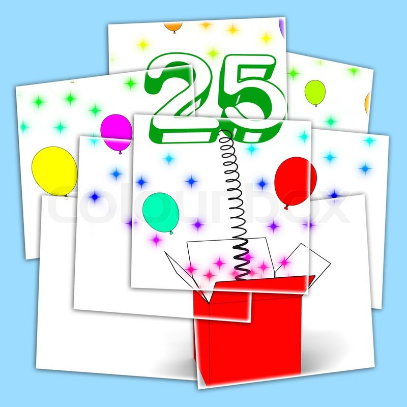 Number Twenty Five Surprise Box Displaying Beautiful Creativity And Surprise, stock photo