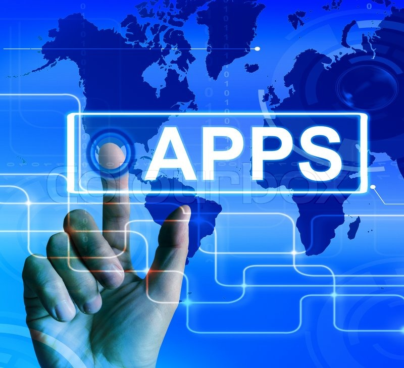 Apps Map Displaying International and Worldwide Applications, stock photo