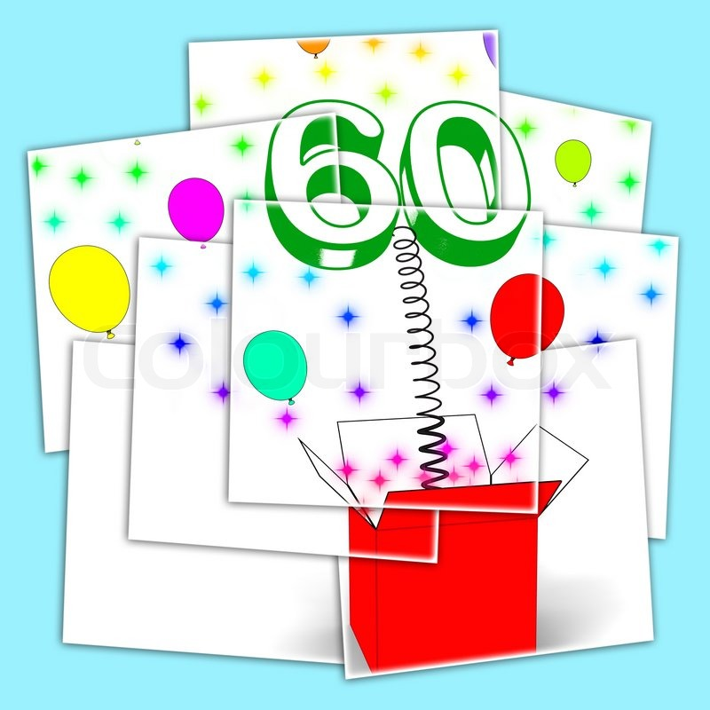 Number Sixty Surprise Box Displaying Elderly Surprise Party Or Celebration, stock photo
