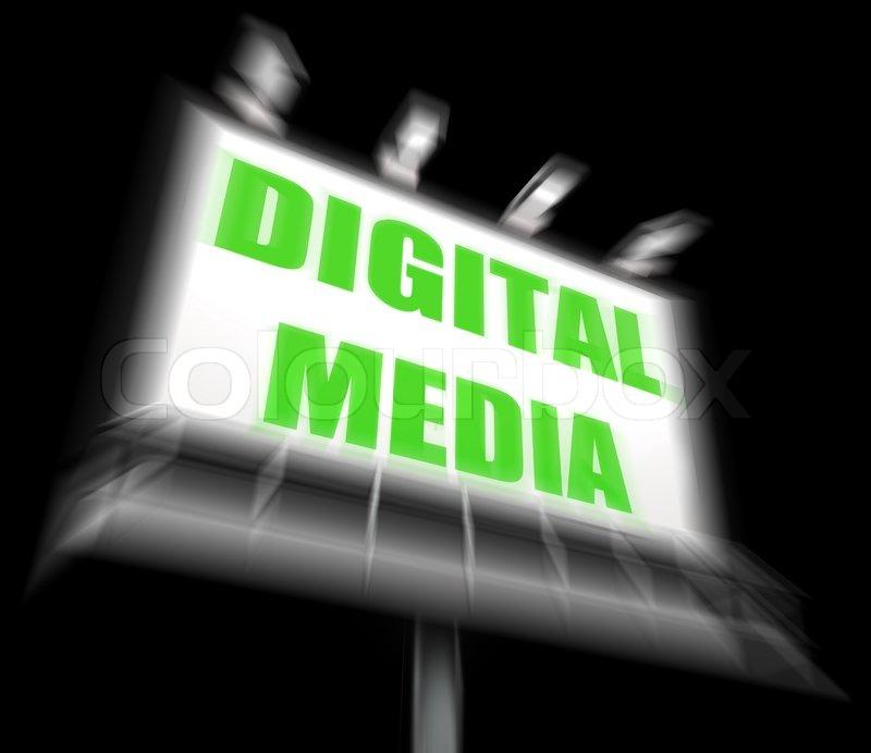 Digital Media Sign Displaying Electronic Computer Equipment, stock photo
